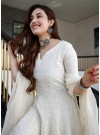 Milky White Designer Anarkali Suit In Georgette With Lucknowi Chikankari Embroidery Work