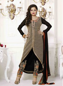Energetic Black Churidar Designer Suit