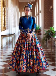 Remarkable blue  anarkali printed suit