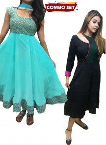 Buy 1 Get 1 Free Silk Kurti Combo set- Foil Mirror Work Embroidered Turquoise Designer Dress With Matching Dupatta