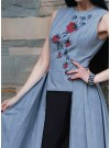 Luxury Pure Cotton Box Pleated Embroidered Front Cut Outfits with Black Bottom