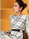 Classy Off-White Designer Cotton Twill Checked printed Gown