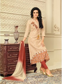 Absorbing Cream Chanderi Silk Embroidery With Printed Churidar Suit
