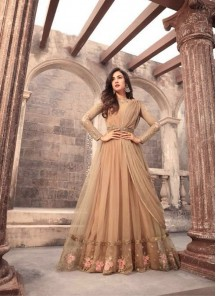 Absorbing Embroidered With Stone Work Mono Net  Brown Floor Length Anarkali Suit