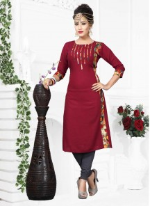 Absorbing Print Work Red Party Wear Kurti
