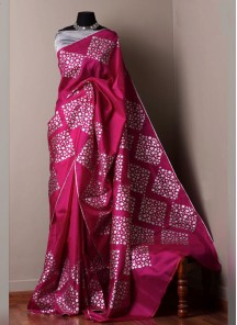Abstract Digital Print Satin Silk Traditional Saree In Pink