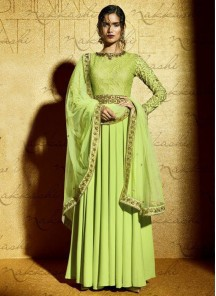 Adorable pista green Anarkali Suit