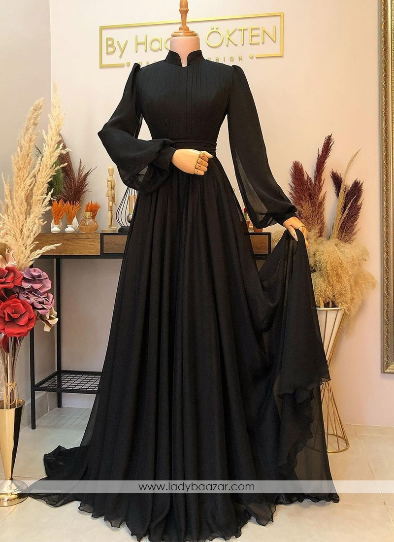 Adorable Black Faux Georgette Floor Length Flared Pleated Designer Gown