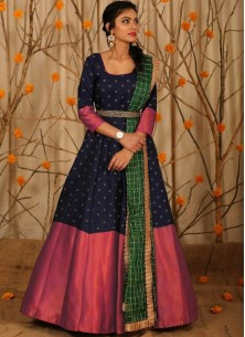 Adorable Designer Wear Blue Satin Silk Anarkali Gown With Silk Chanderi Dupatta