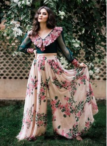 Adorable Designer Wear Digital Printed Plazzo Along With Unique Embroidered Blouse
