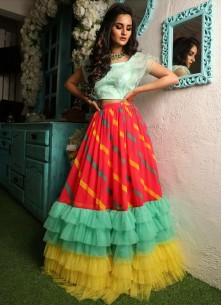 Adorable Digital Printed Pleated 6 Layer Frill Ruffle Crop-top Lahenga Choli