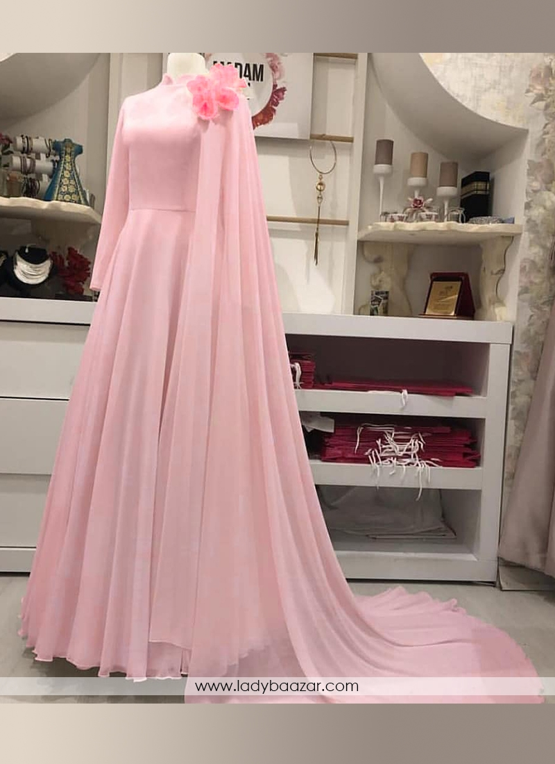 Adorable Faux Georgette Floor Length 10 Meter Flared Designer Gown Along With Flower Work On Dupatta.