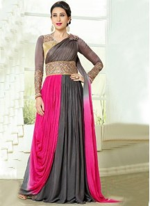 Adorable pink and grey  Georgette Anarkali Suit
