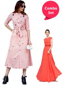 Adorable Gorgette Gown & Rayon Western Kurti - Pac