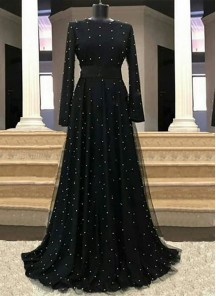 Adorable Hand Moti Work Net Floor Length Designer Wear Black Readymade Gown