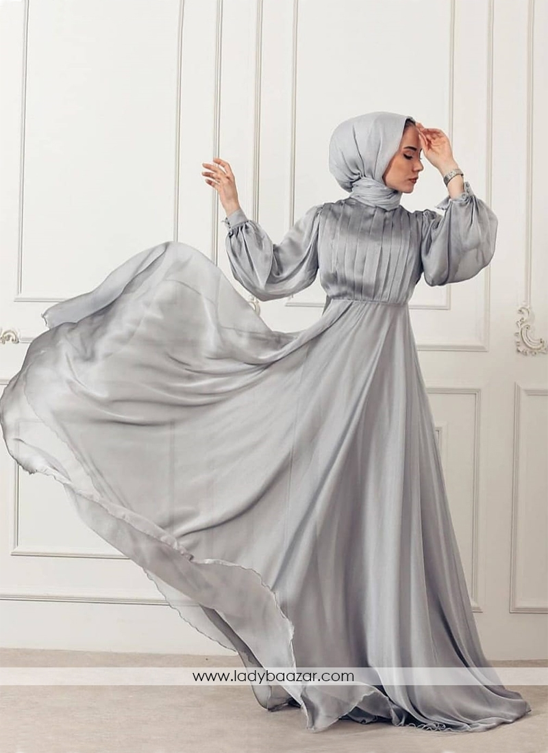 Adorable Light Grey Georgette Silk Long Ready Made Designer Gown With Pleated Stitch Work On Top