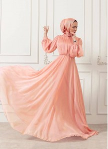 Adorable Light Peach Georgette Silk Long Ready Made Designer Gown With Pleated Stitch Work On Top
