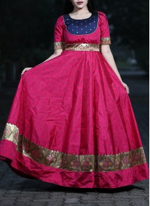 Adorable Magenta Colored Festive Wear Woven Tapetta Silk Gown