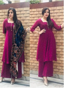 Adorable occasion Wear Moti Work Plazzo Suit With