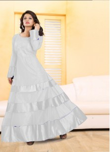 Adorable Off White Soft Net Designer Gown