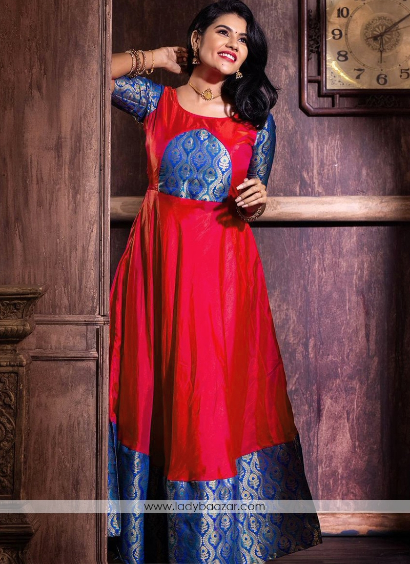 Adorable Tomato Red Colored Festive Wear Weaving jacquard Silk Gown