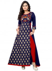 Adorning Blue Embroidered Work Party Wear Kurti
