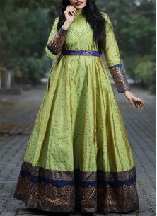 Adroble Parrot Green Colored Festive Wear Woven Ta