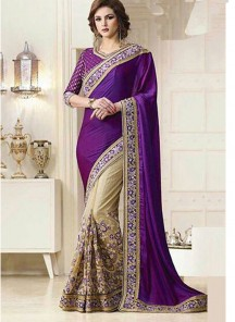 Aesthetic Lace Work Purple With Cream Half N Half Designer Saree