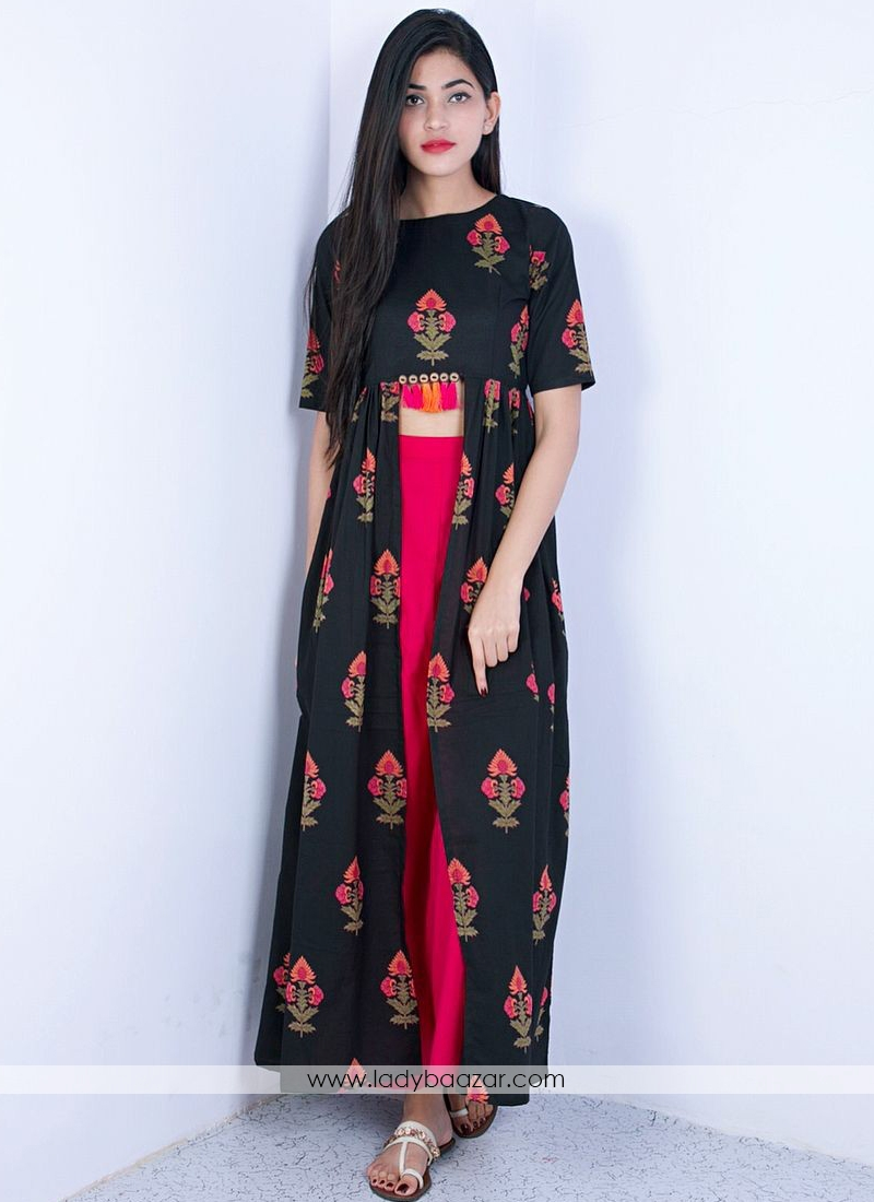 Affectionate Black With Pink Reyon Printed Indo Western Wear