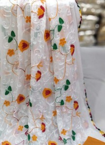 Affectionate Orange And White Cotton Festival Dress Material
