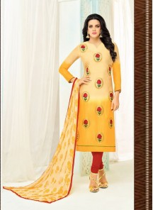 Affectionate Yellow Chanderi Printed Churidar Salwar Kameez