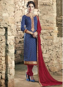 Alluring Cotton  Embroidered Churidar Suit