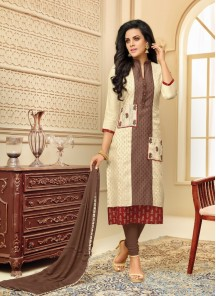Alluring Cream Chanderi Printed Salwar Suit