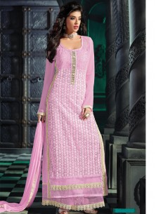 Alluring Georgette Embroidered Palazzo Suit