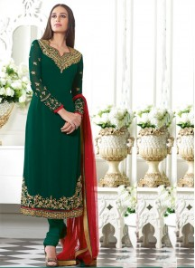 Alluring Georgette Embroidered Straight Suit