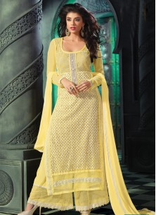 latest Yellow georgette palazzo suit