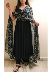 Amazing Black Colored Plazzo Set Along With Digital Printed Chiffon Dupatta