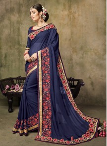 Amazing Embroidered Georgette Designer Saree