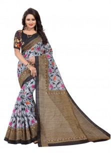 Amazing Multi Color Bhagalpuri Silk Printed Saree