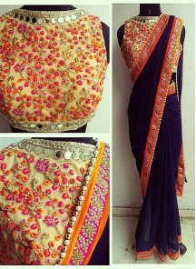 Amazing Sequins Work Georgette Casual Saree