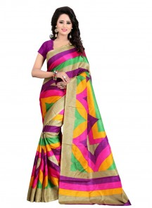 Amusing Bhagalpuri Silk Multi Print Work Casual Saree