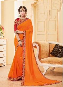 Amusing Georgette Embroidery Work Designer Classic  Saree