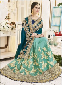 Amusing Paper Silk With Georgette Embroidered Work Designer Half N Half Saree
