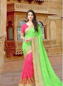 Amusing Parrot green With Pink Embroidery Work Georgette Half N Half Saree