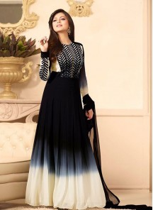 Lordly Georgette Navy Blue Embroidered Work Designer Suit