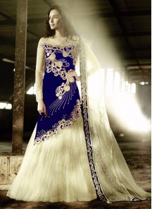 latest blue embroidered work Anarkali Suit