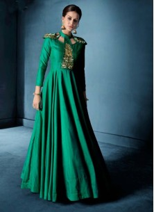 Angelic Embroidered Green Morvi Silk Floor Length