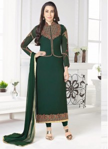Angelic Green Georgette Embroidery Work Designer Suit