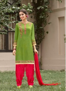 Angelic Green With Red Cotton Embroidery Work Patiyala Suit