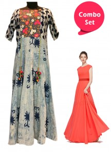 Appealing Gorgette Gown & Cotton Printed Embroidery Dress - Pack of 2